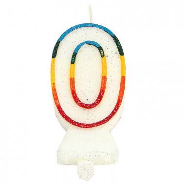 Kolorowa świeczka tortowa z cyfrą 0