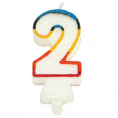 Kolorowa świeczka tortowa z cyfrą 2