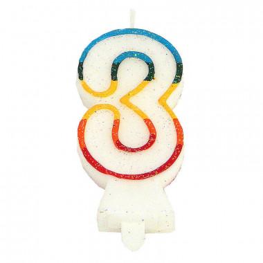Kolorowa świeczka tortowa z cyfrą 3