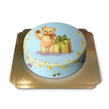 Niebieski tort z misiem