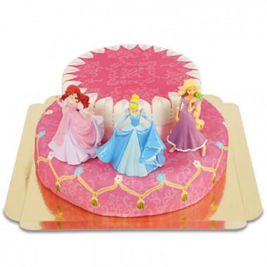 Trzy księżniczki na dwupiętrowym torcie.