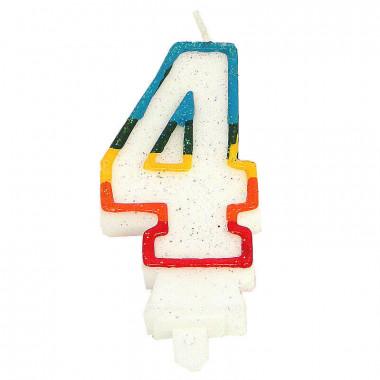 Kolorowa świeczka tortowa z cyfrą 4
