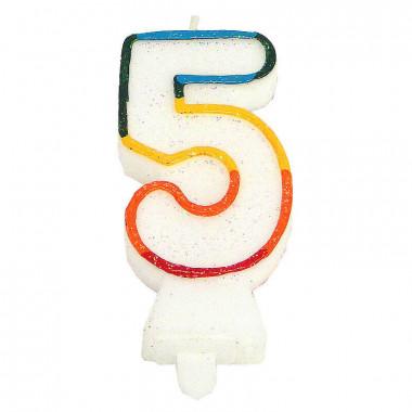 Kolorowa świeczka tortowa z cyfrą 5