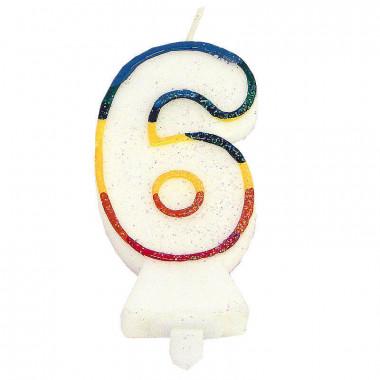 Kolorowa świeczka tortowa z cyfrą 6