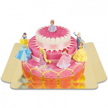 Trzypiętrowy tort z 7 księżniczkami ze wstążką