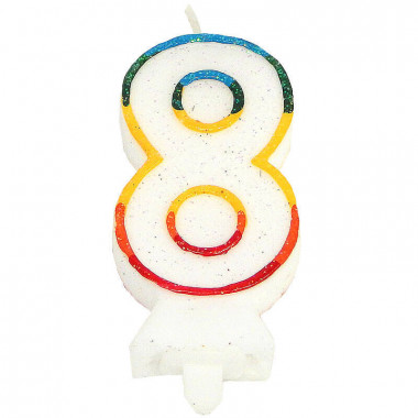 Kolorowa świeczka tortowa z cyfrą 8
