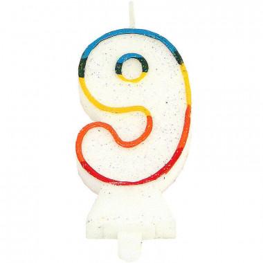 Kolorowa świeczka tortowa z cyfrą 9