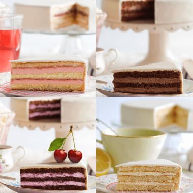 Próbka czterech wariantów smakowych, tort weselny