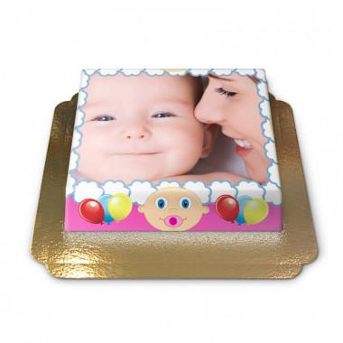 Tort ze zdjęciem - różowa ramka z Baby motywem