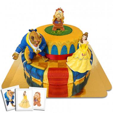 Dwupiętrowy tort z Piękną i Bestią