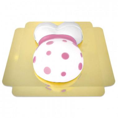 Tort brzuszek z różową wstążką