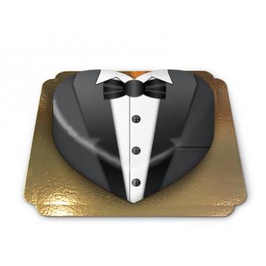 Tort w formie serca - czarny garnitur