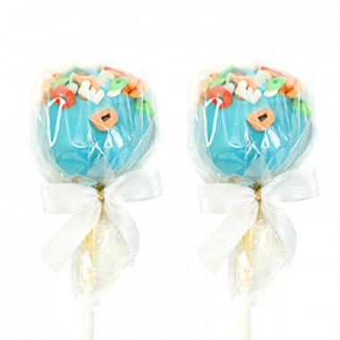 Niebieskie cake-pops z literkami (12 sztuk)