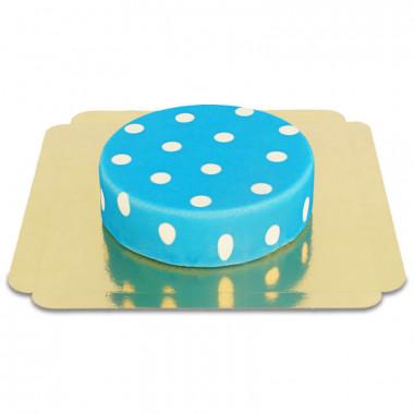 Niebieski tort w białe kropki