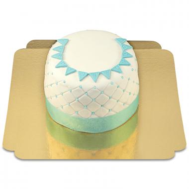 """Tort Deluxe """"Happy Birthday"""" - niebieski - podwójna wysokość"""