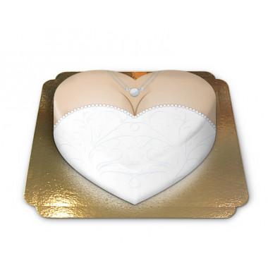 Tort w kształcie serca - suknia ślubna