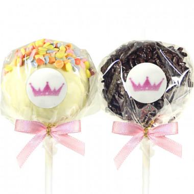 Cake-Pops z logiem, kolorowa posypka & wiórki czekoladowe (12 sztuk)