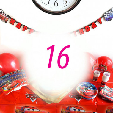 Auta Partyset dla 16 dzieci - bez tortu