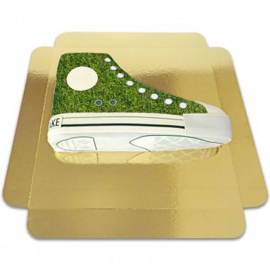 Tort w kształcie tenisówki - zielony wzór