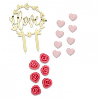 Zestaw dekoracji walentynkowych, różowy