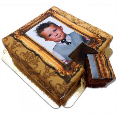 Foto-tort Deluxe – ze złotą ramką - MEGA czekoladowy