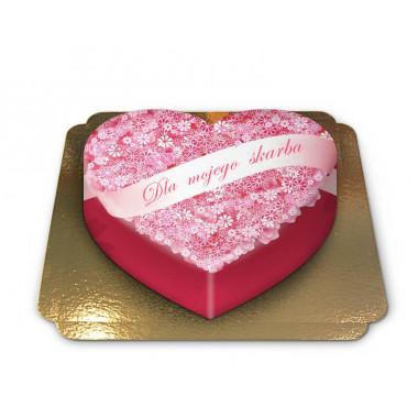 Tort w kształcie serca z napisem - Dla skarba