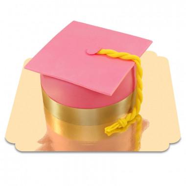 Tort dla absolwentów  różowy Biret