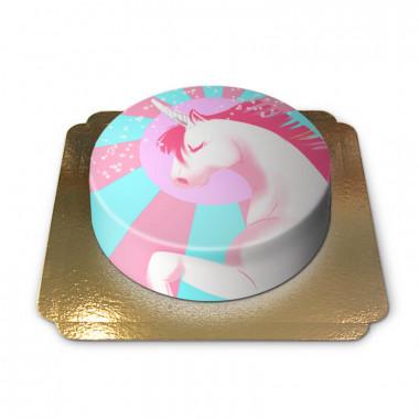 Różowo-niebieski tort z jednorożcem