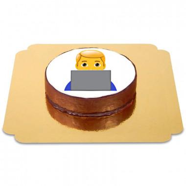 Emoji tort Sachera- chłopiec przy komputerze