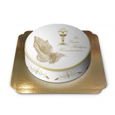 Biały tort na Bierzmowanie lub Komunię