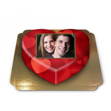 Tort w kształcie serca ze zdjęciem, tło w serca
