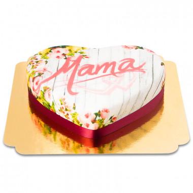 Wiosenny tort w kształcie serca - Mama