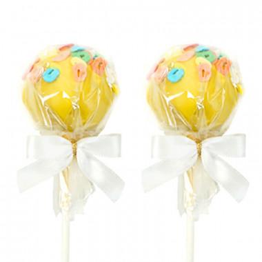 Żółte cake-pops z literkami (12 sztuk)