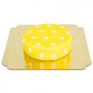 Żółty tort w białe kropki