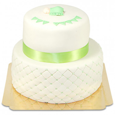 Zielony tort na Chrzest Święty