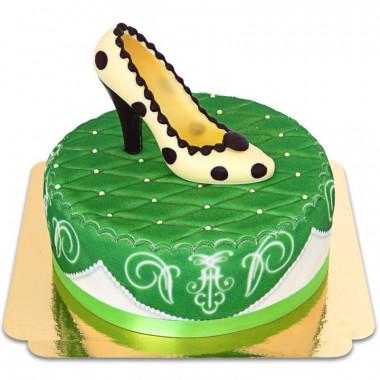 Zielony tort deluxe z czekoladowym pantofelkiem i wstążką