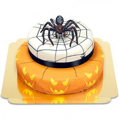 Dwupiętrowy tort na halloween - Pająk na torcie grozy