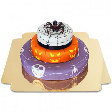 Trzypiętrowy tort na halloween - Pająk na torcie grozy