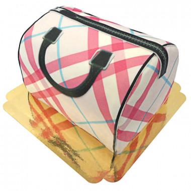 Tort w kształcie torebki w różową kratkę