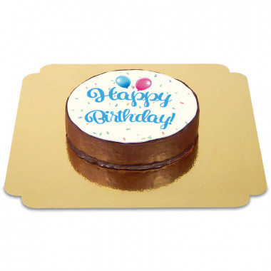 Tort czekoladowy z napisem Happy Birthday - niebieski