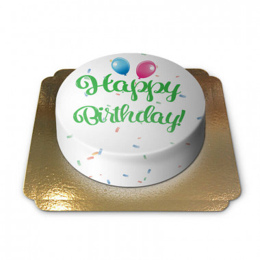 Tort z napisem Happy Birthday - zielony