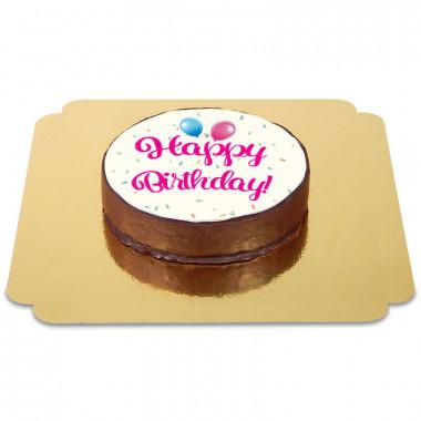 Tort czekoladowy z napisem Happy Birthday - różowy