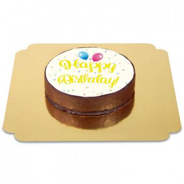 Tort czekoladowy z napisem Happy Birthday - żółty