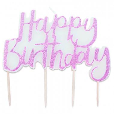 """Różowa świeczka """"Happy Birthday"""""""