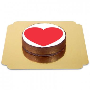 Tort czekoladowy z emotikonką - serce