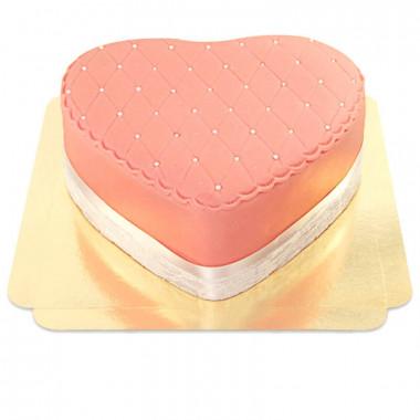Różowy tort walentynkowy Deluxe w kształcie serca - podwójna wysokość