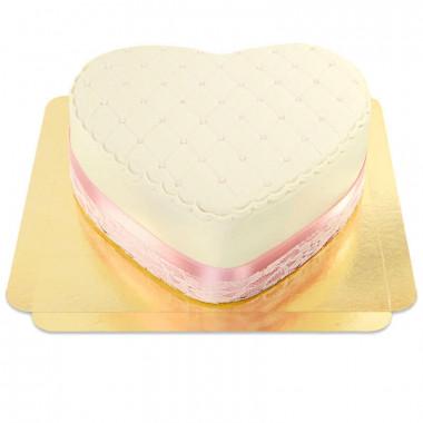 Biały tort walentynkowy Deluxe w kształcie serca - podwójna wysokość