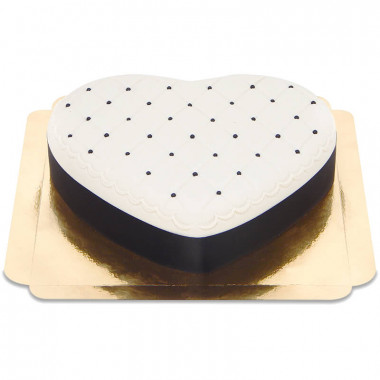 Tort walentynkowy Delux w kształcie serca, czarno-biały