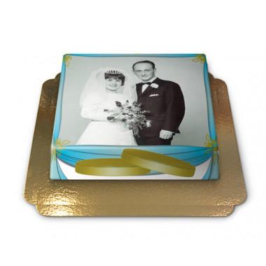 Tort na złote gody ze zdjęciem