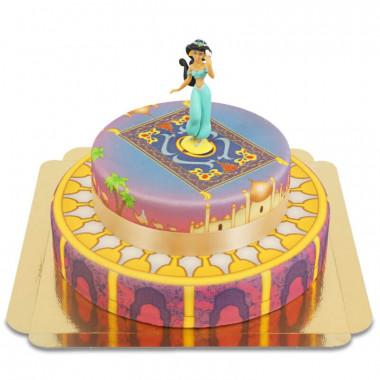 Dwupiętrowy Tort z księżniczką Jasmin na latającym dywanie